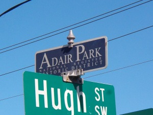 Adair Park Street Sign Topper at Hugh