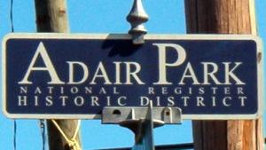 Adair Park Street Sign Topper