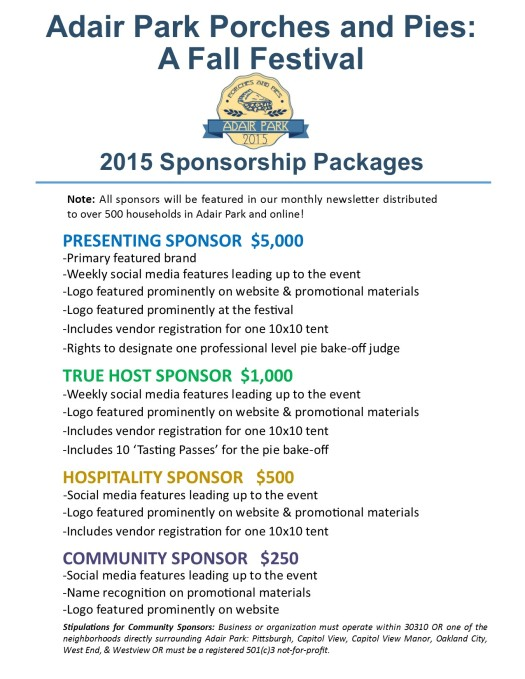 2015 Sponsor Packages and Registration Porches and Pies IMAGE